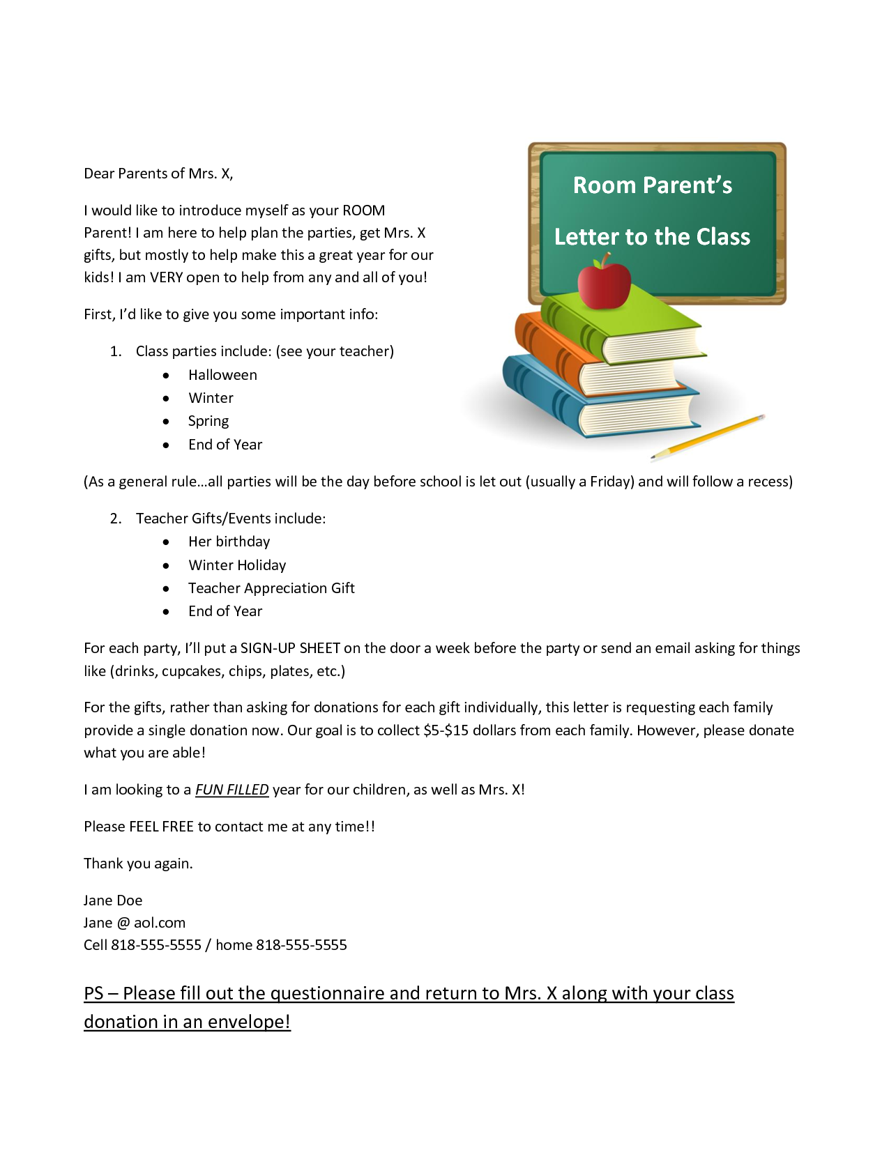 room mom introduction letter - Google Search | Homeroom ...