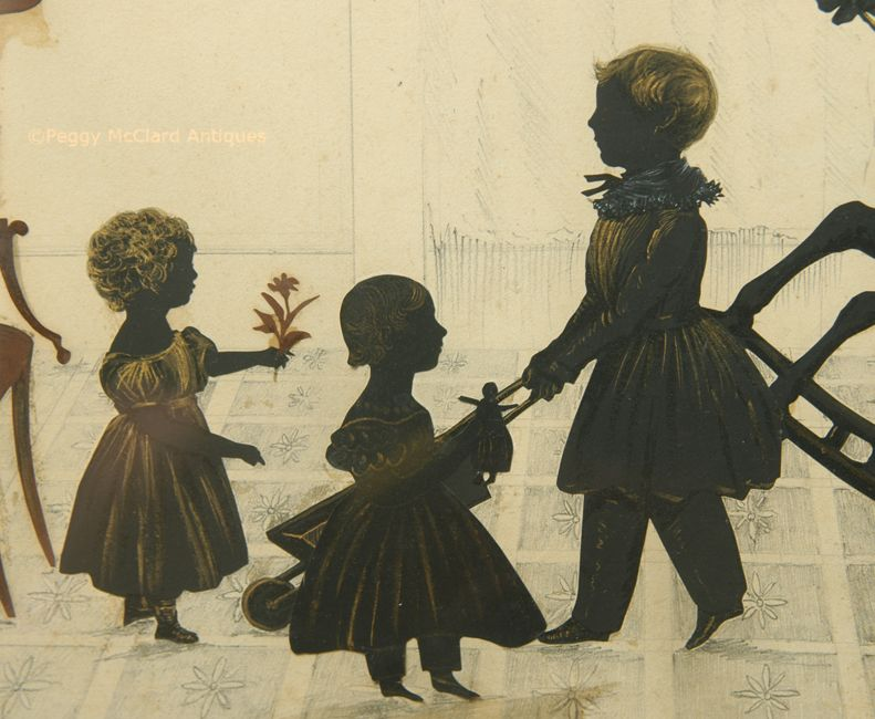Antique Large Conversation Silhouette Of Family 2 Adults 5