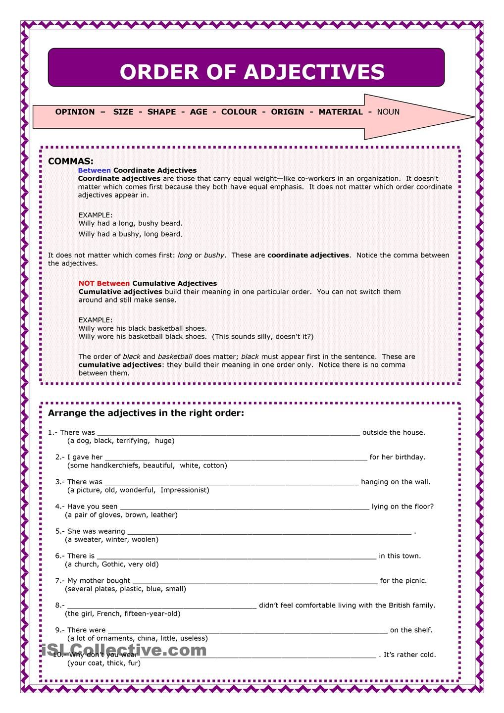 worksheet Order Of Adjectives Worksheet 1000 images about certificates on pinterest free certificate templates english and invitations