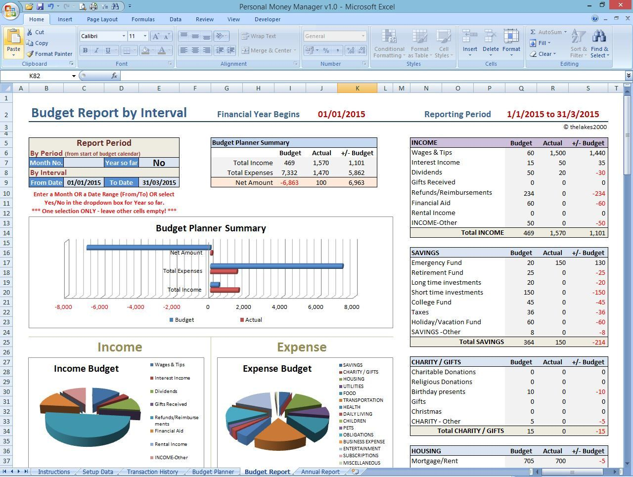 Personal Finance Manager Email Excel Template English