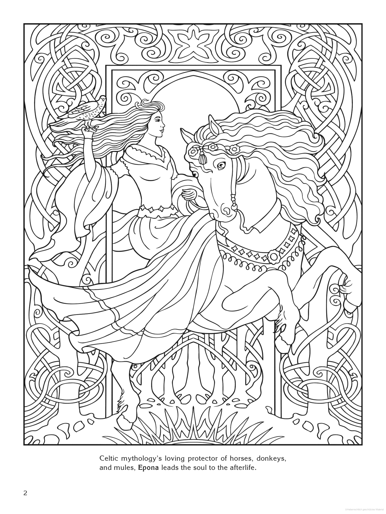 Goddess coloring page - Epona (Celtic)  Celtic coloring, Coloring