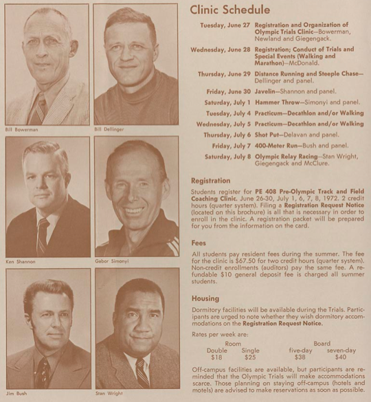 Oregon coaches and schedule during 1972 Olympic Trials coaches clinic. ©University of Oregon Libraries - Special Collections and University Archives