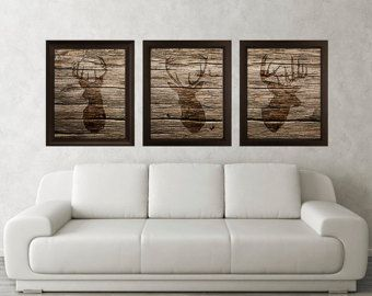 Delightful Antler, Stag, Deer Print Set Of 3 (Wood Texture)   Minimalist Art  Rustic  Poster Silhouette Art   Print   Wall Decor, Home Decor, Gifts (18)