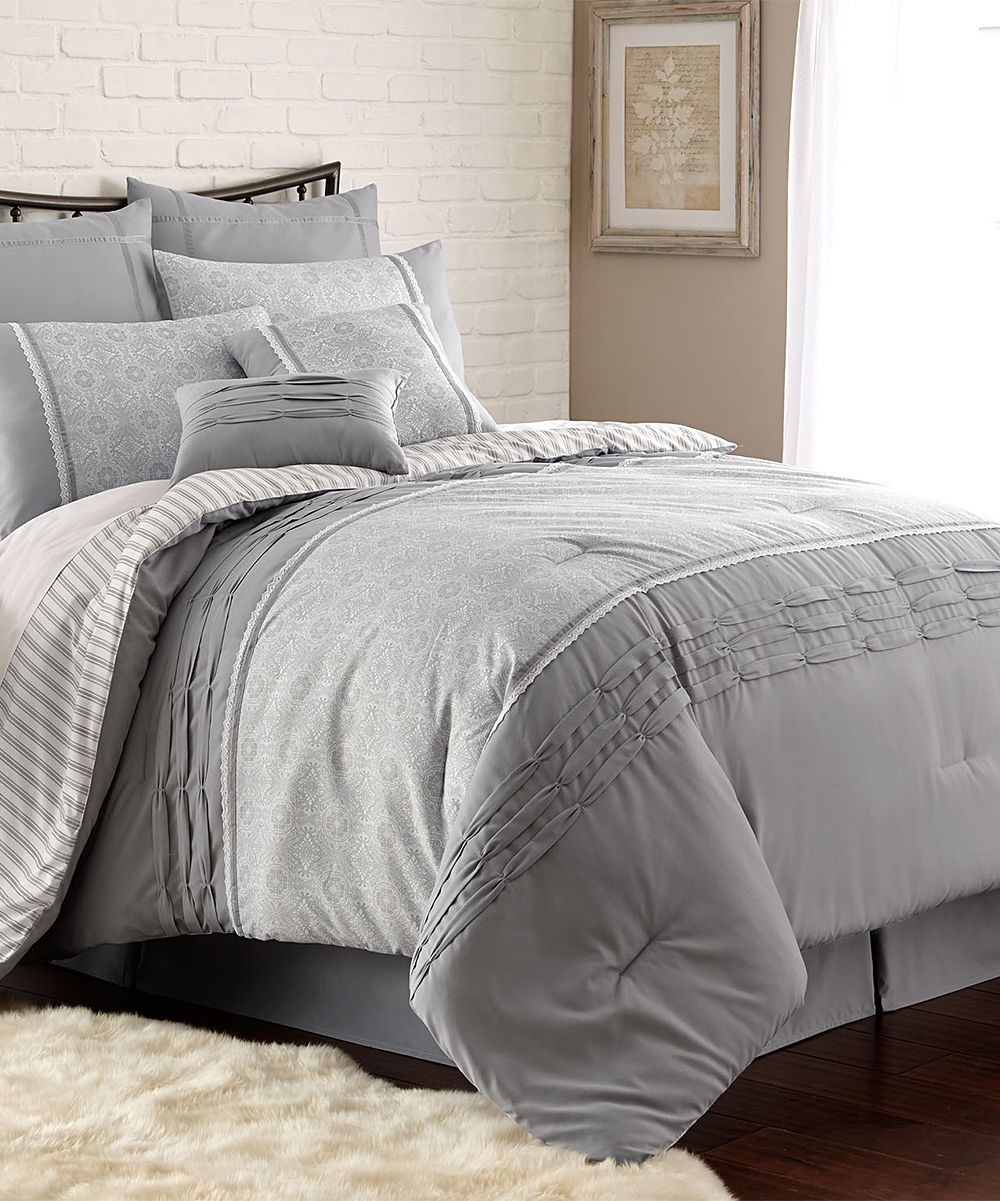 Gray Camila Pleated Eight-Piece Comforter Set