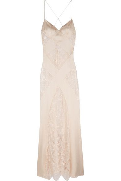 lace and silk-satin chemise