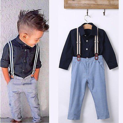 Boys Cotton Long Sleeve T-shirt + Overalls Next Suit