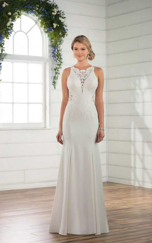 D2405 Simple Lace Wedding Gown By Essense Of Australia