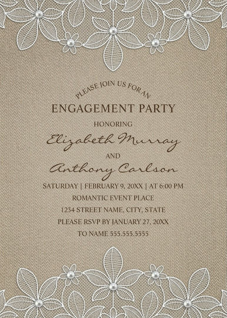 Country Burlap Engagement Party Invitations - Lace and Pearls ...