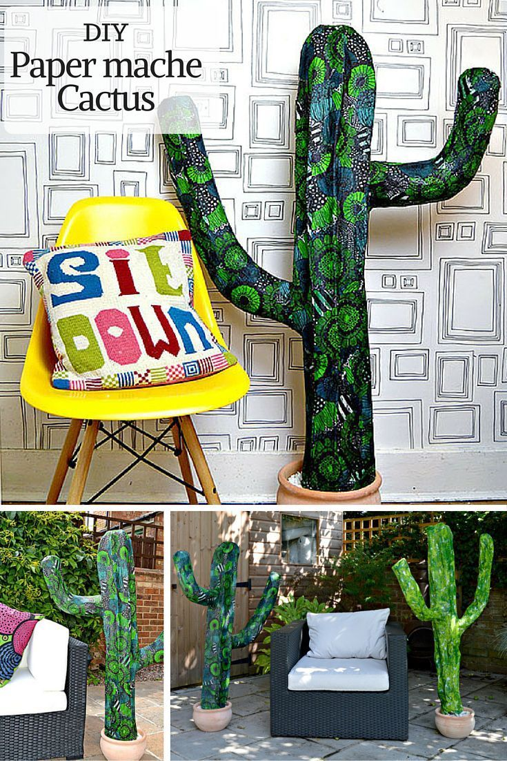 Easy DIY Giant Paper Mache Cactus | Paper mache, Cacti and Hat stands
