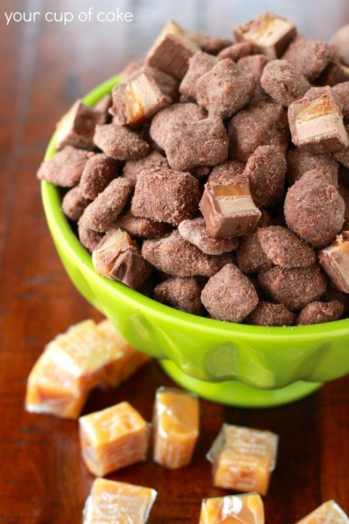 Chocolate Caramel Apple Puppy Chow... using Apple Chex
