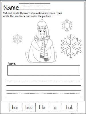 penguin cut and paste sentence practice teacher ideas kindergarten writing kindergarten. Black Bedroom Furniture Sets. Home Design Ideas