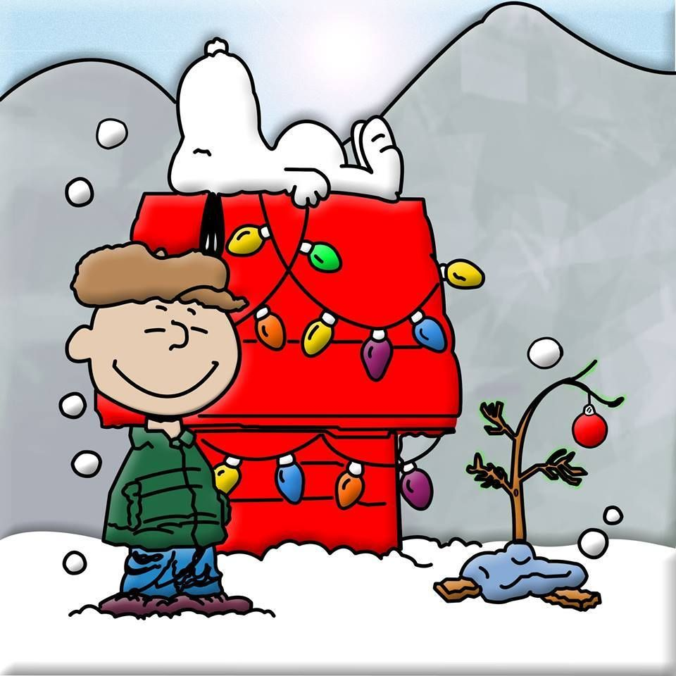 a charlie brown christmas with snoopy and the decorated dog house