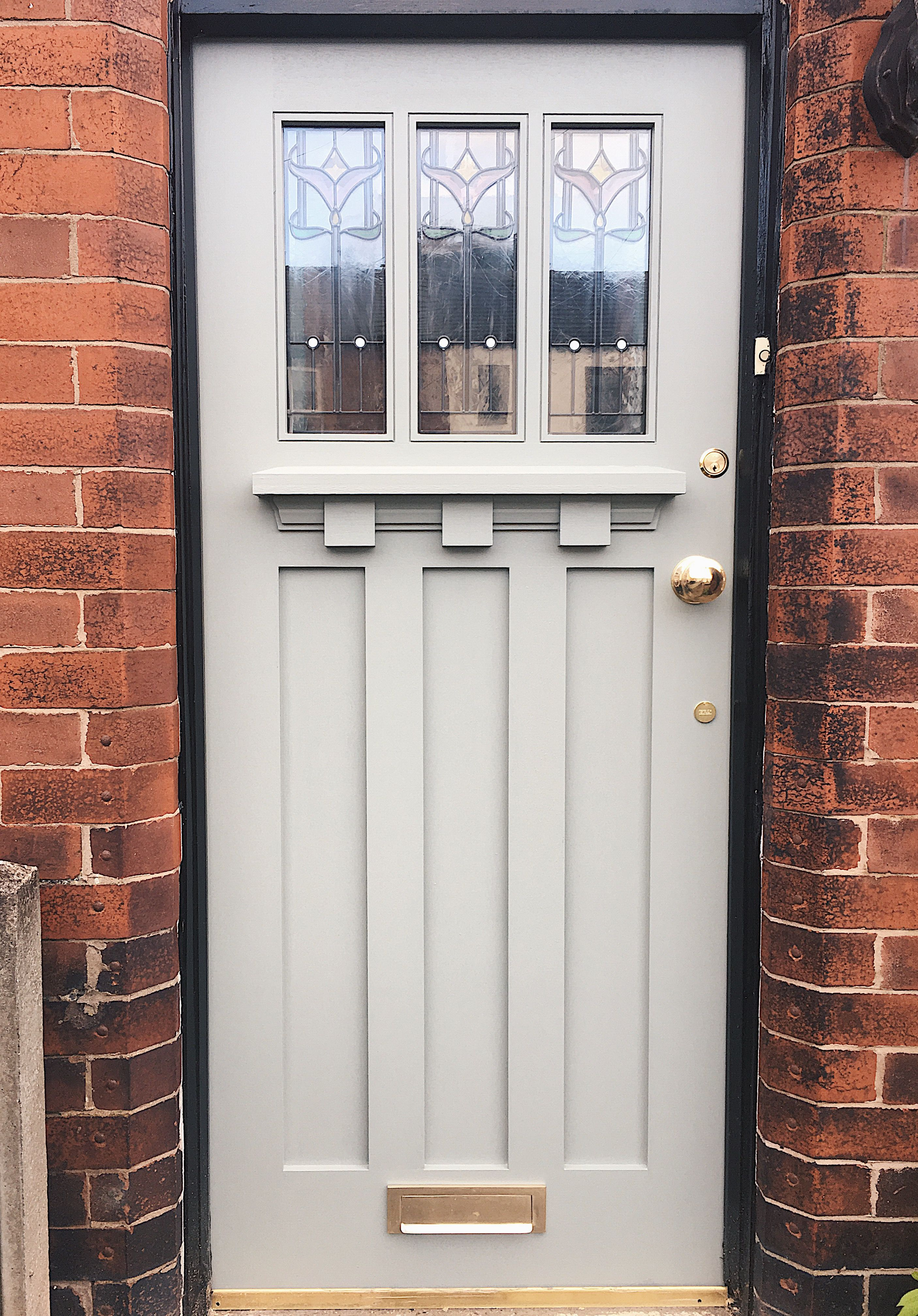 Our new front door from Savoy Timber painted in Farrow and Ball