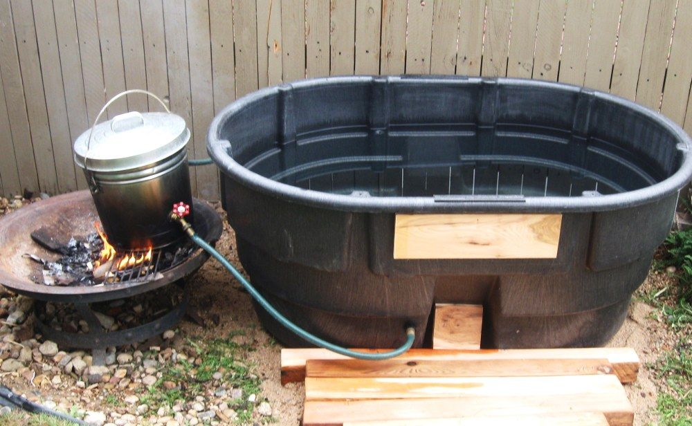 Mom\'s Gift - Off-Grid Fire Heated Hot Tub | deck design | Pinterest ...
