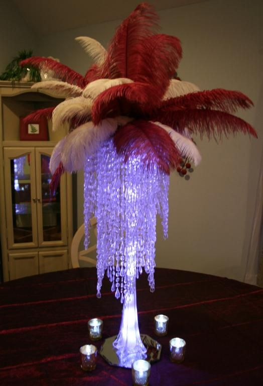 Take a look at this two color ostrich feather centerpiece