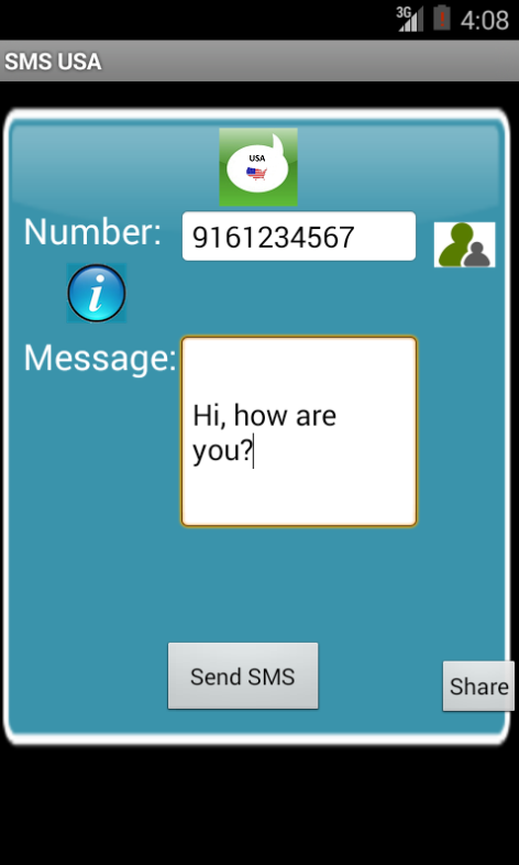 Free SMS USA Android App Screenshot Launch Screen | USA SMS Android