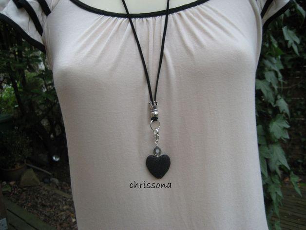 Herzanhänger - Anhänger Herz Lava schwarz Glitzerperle - ein Designerstück von chrissona bei DaWanda