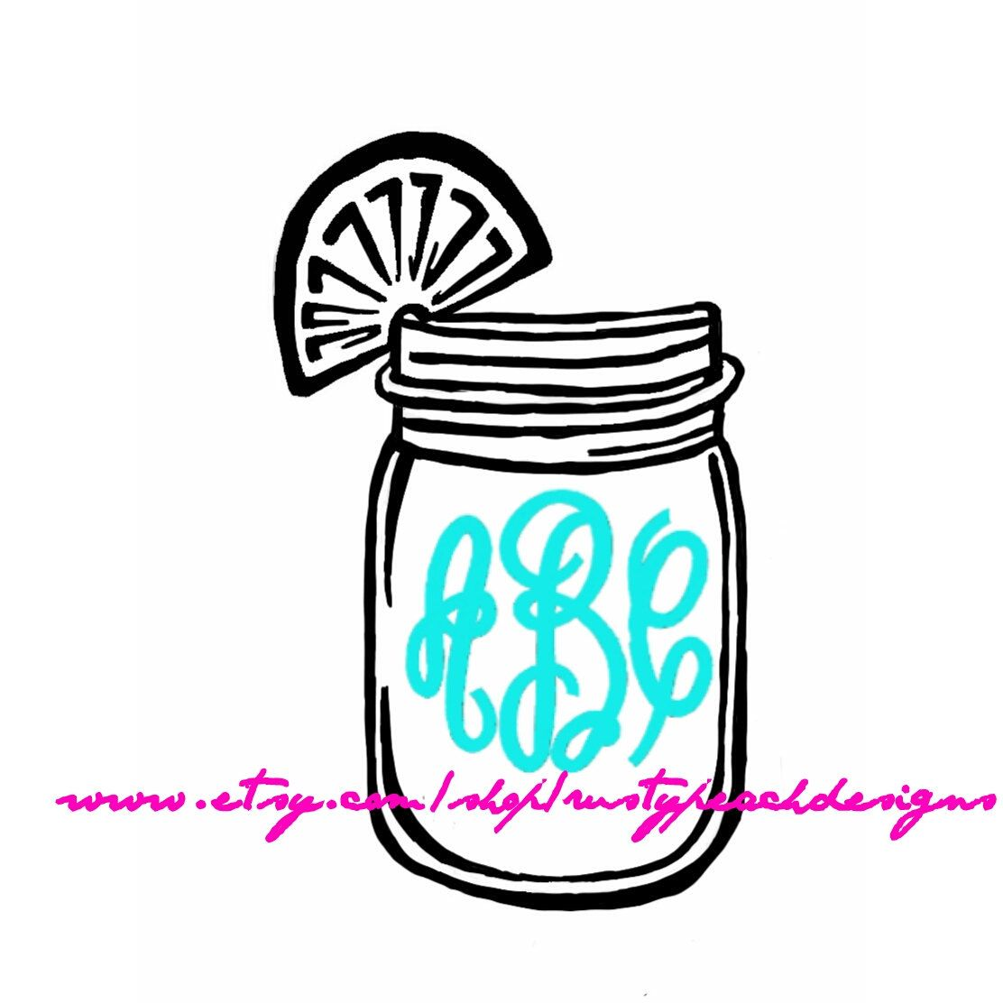 Sweet tea vinyl decal your choice of color fancy monogram mason jar southern charm monogram gifts for her ball jar lemon girlie by