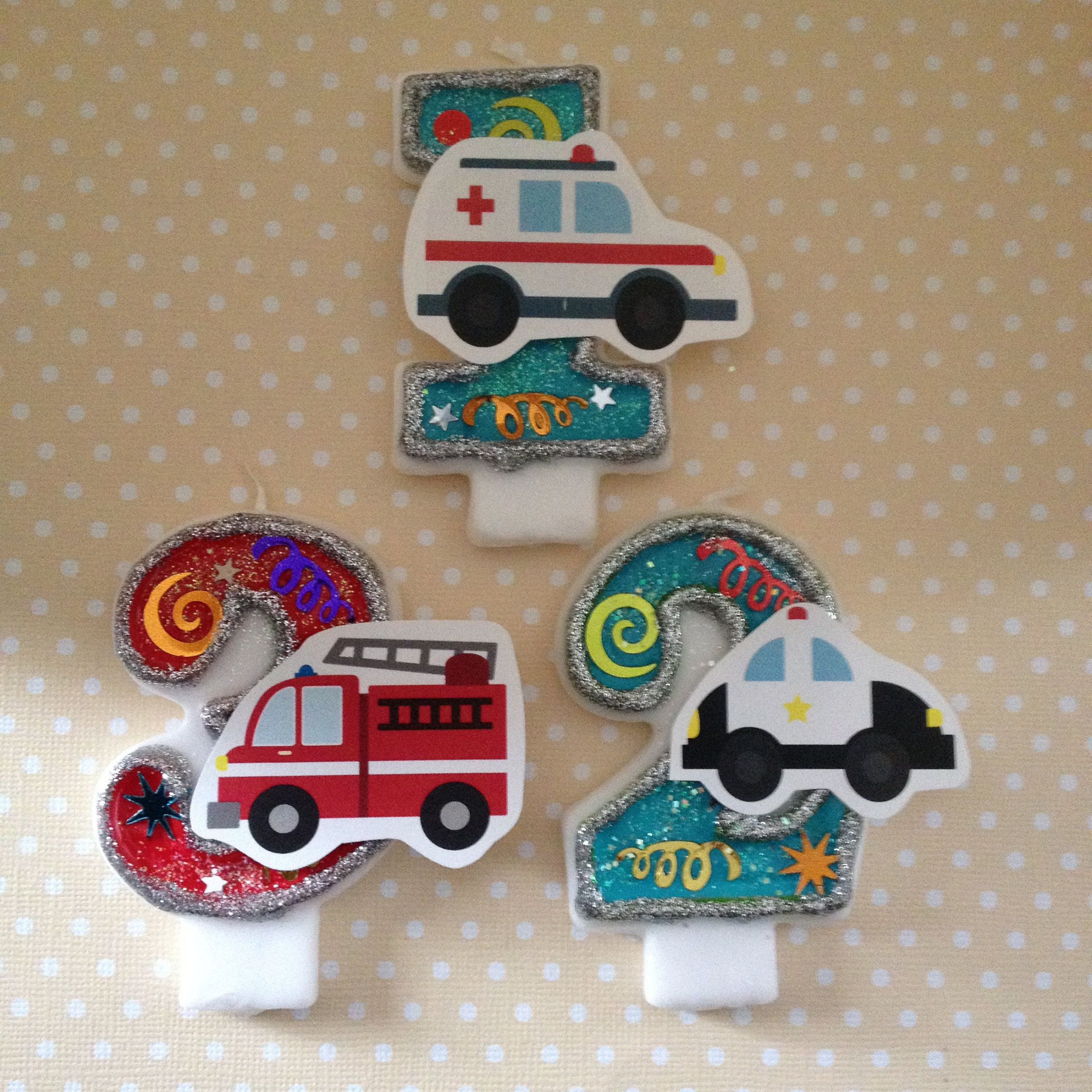 Emergency Vehicles Police Car Fire Truck Ambulance Birthday Party Number Candle