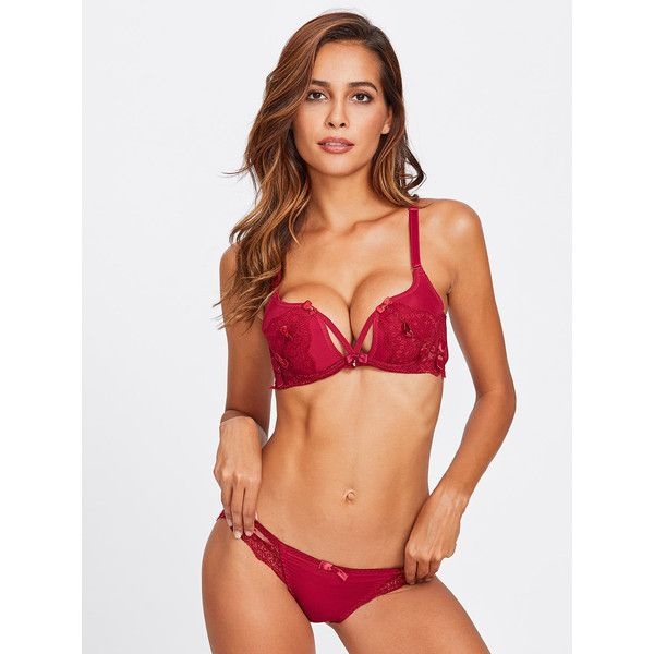 SheIn(sheinside) Bow Detail Lace Lingerie Set ( 13) ❤ liked on Polyvore  featuring intimates 8f2a52520