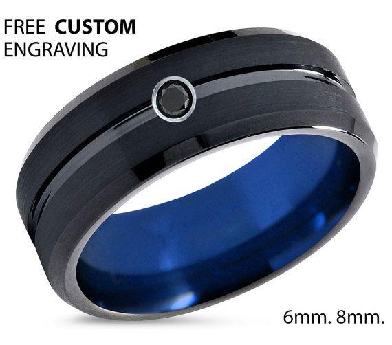 Tungsten Ring Mens Black Blue Wedding Band By BellyssaJewelry