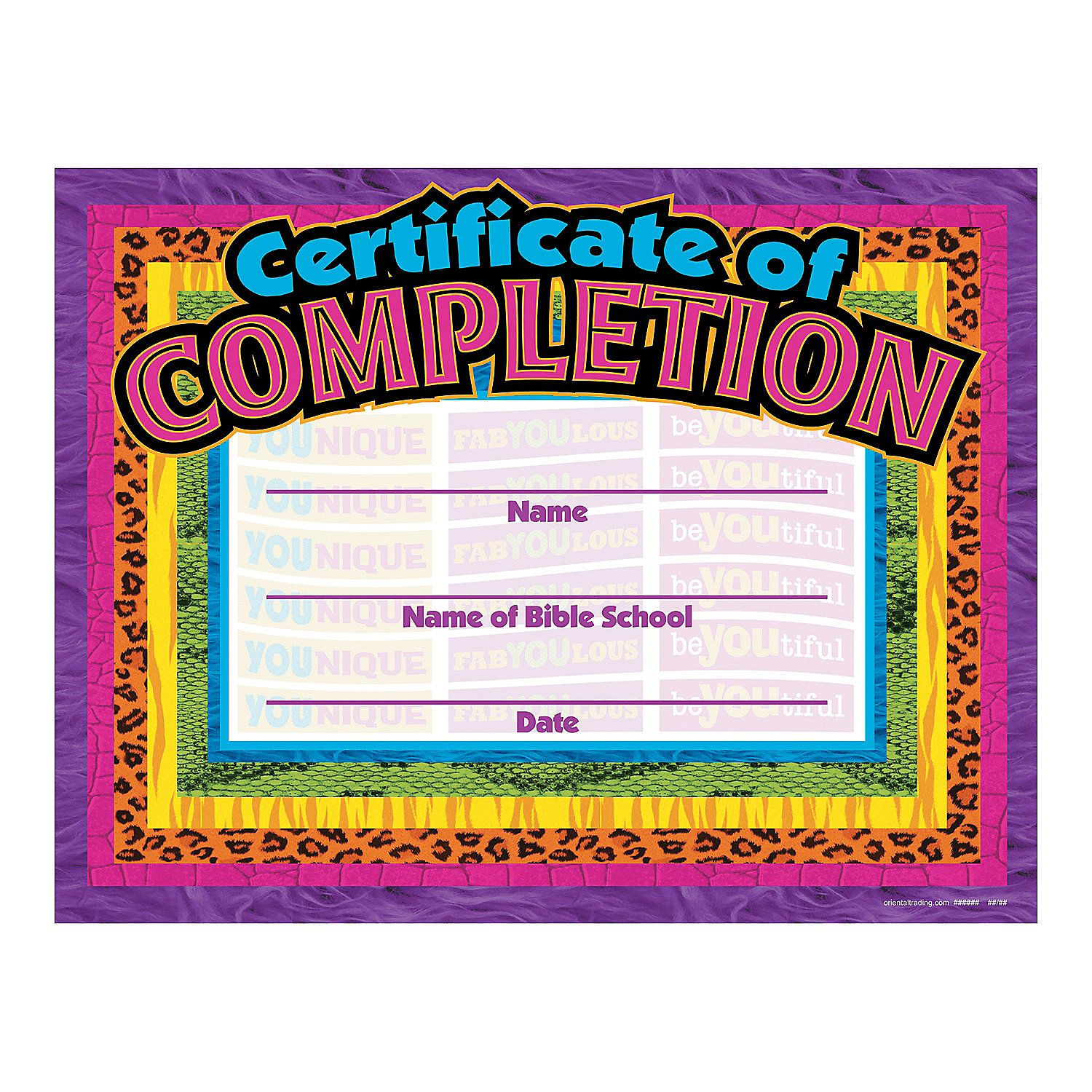 Wild Wonders Vbs Completion Certificates