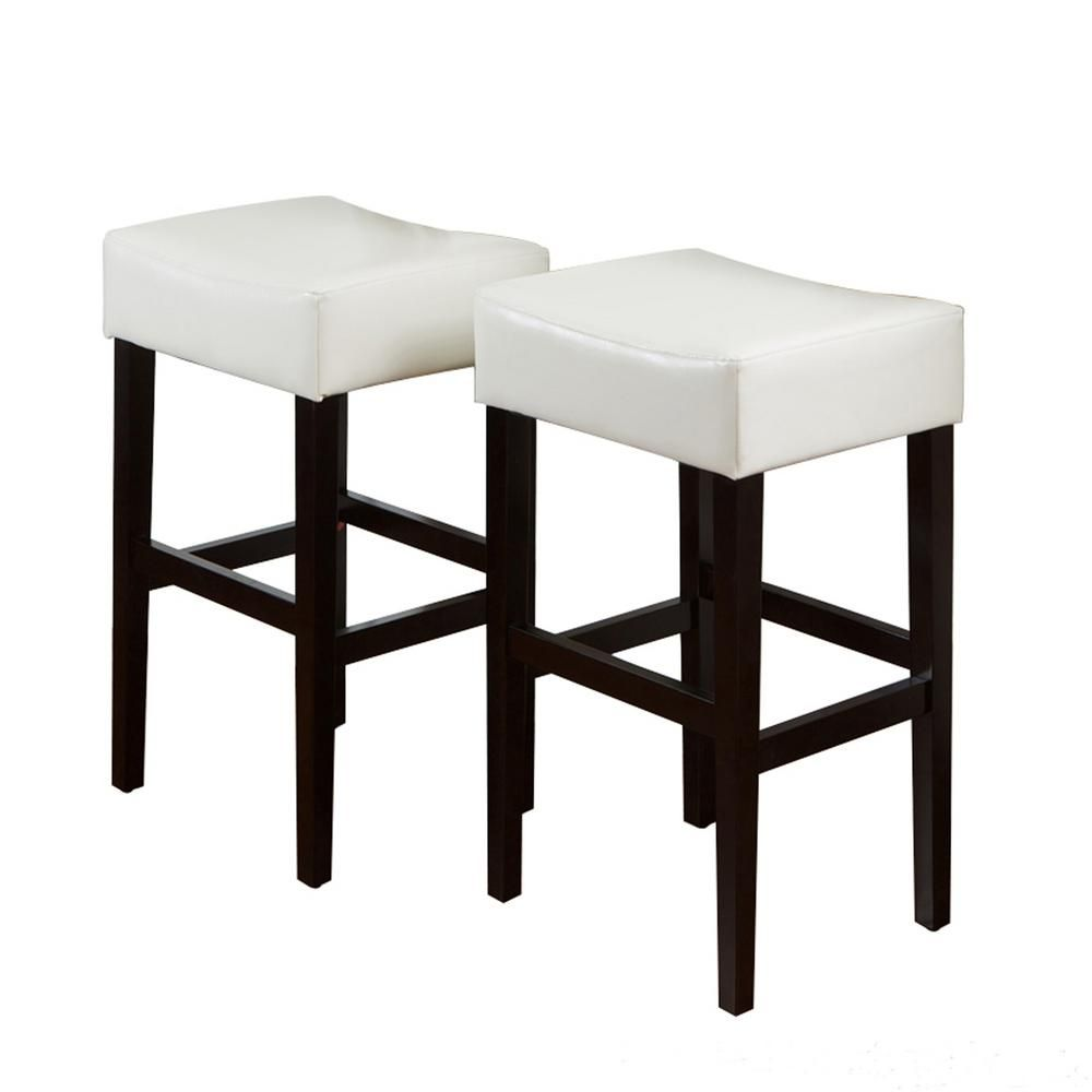 Noble House Lopez 30 In Ivory Leather Backless Bar Stool Set Of
