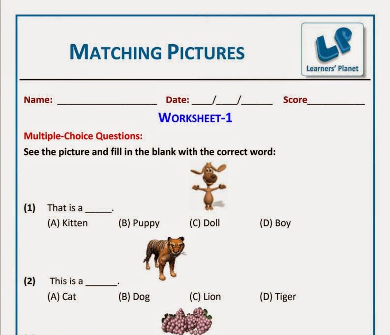 Matching picture worksheets for grade 1 kids ~ Learners Planet ...