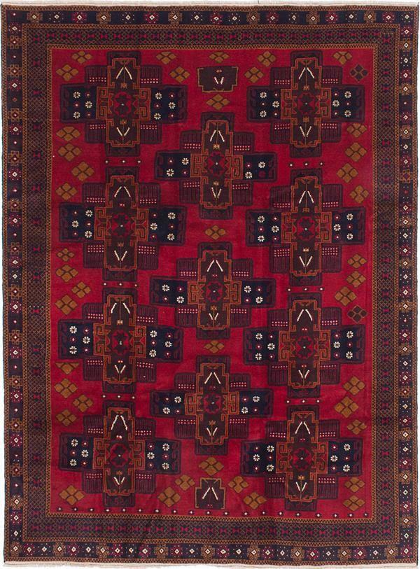 Best Hand Knotted Finest Rizbaft Dark Burgundy Wool Rug With 400 x 300