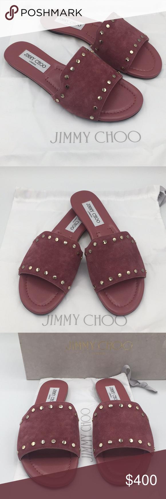 8851991030c Jimmy Choo Nanda Suede Flat Slide Sandals Jimmy Choo Nanda Vintage Rose Gold  Jimmy Choo