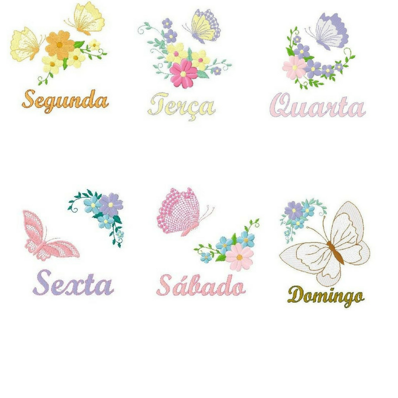 c79ff9d8926d6 Matrizes de Bordados Grátis  Semaninha Borboletas (Free Embroidery)  Quantidade  7 arquivos Formato