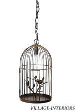 RUSTIC COTTAGE CHIC BIRD ON BRANCH BIRDCAGE PENDANT CHANDELIER