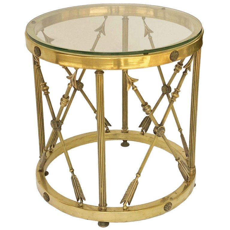 Round Brass And Glass English Occasional Table Table Small