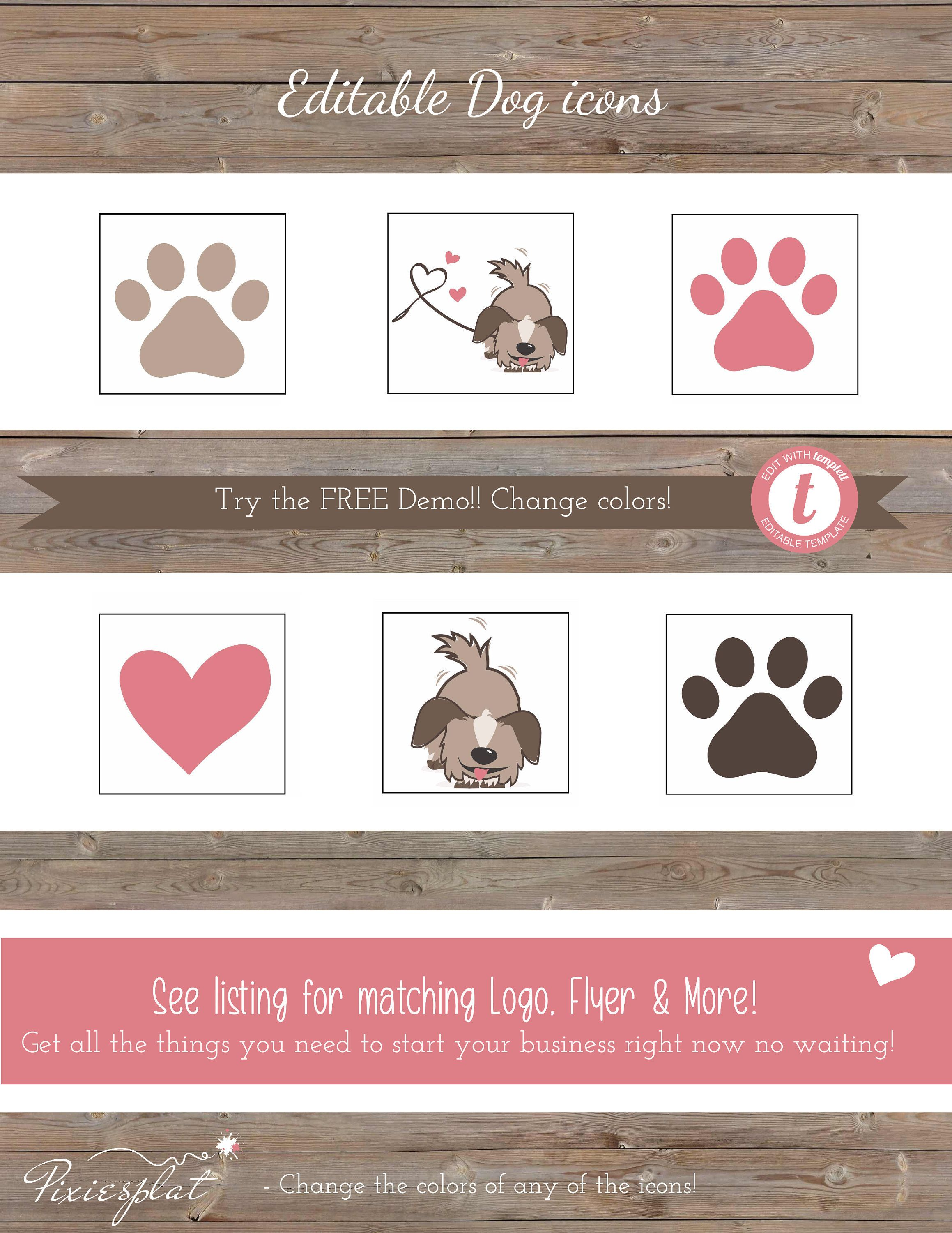 Adorable Dog, Heart and Paw Prints Clip Art! Cute Puppy