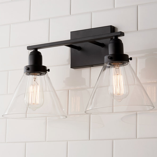 Industrial Triangle Shade Bath Light 2 Light Black Bathroom Light Bath Light Modern Bathroom Light Fixtures