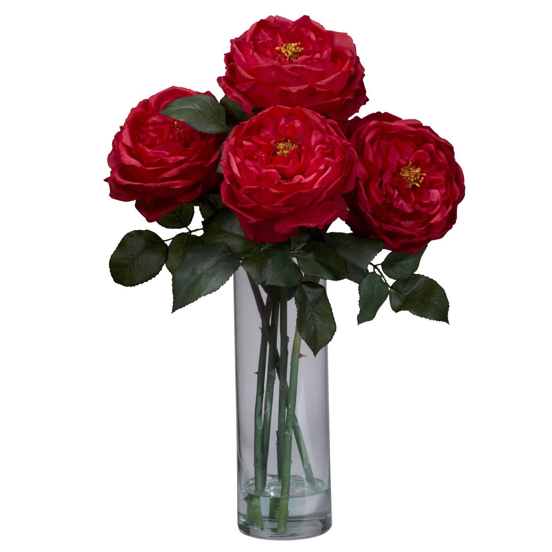 Fancy rose wcylinder vase silk flower arrangement the rose is fancy rose wcylinder vase silk flower arrangement the rose is beauty and elegance mightylinksfo