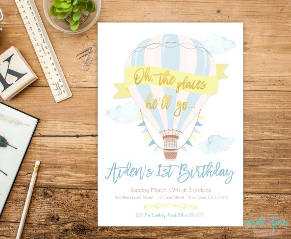 Oh the places hell go invitation hot air balloon birthday oh the places hell go hot air balloon birthday invitation for any age printable stopboris Images