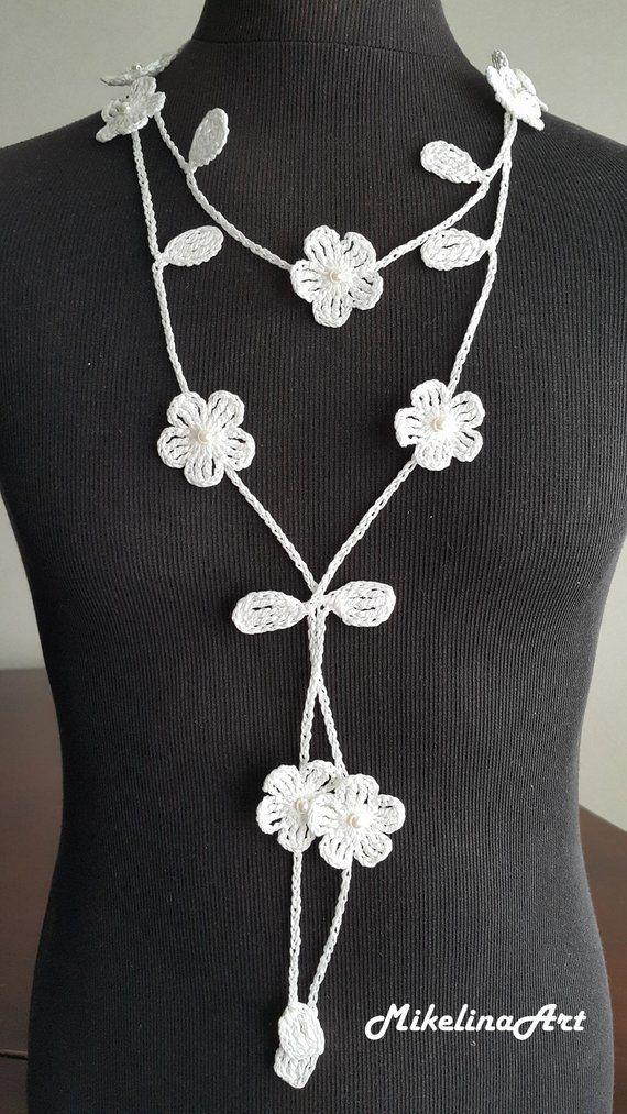 Del ganchillo, collar, cuello de ganchillo accesorio, collar, blanco, 100% algodón – String art patterns