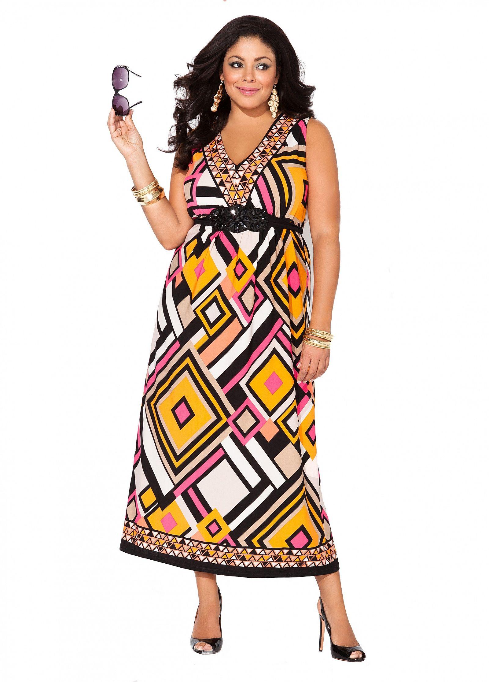 Embellished Geometric Print Maxi Ashley Stewart Plus Size Summer Fashion Plus Size Fashion Dresses [ 2230 x 1600 Pixel ]