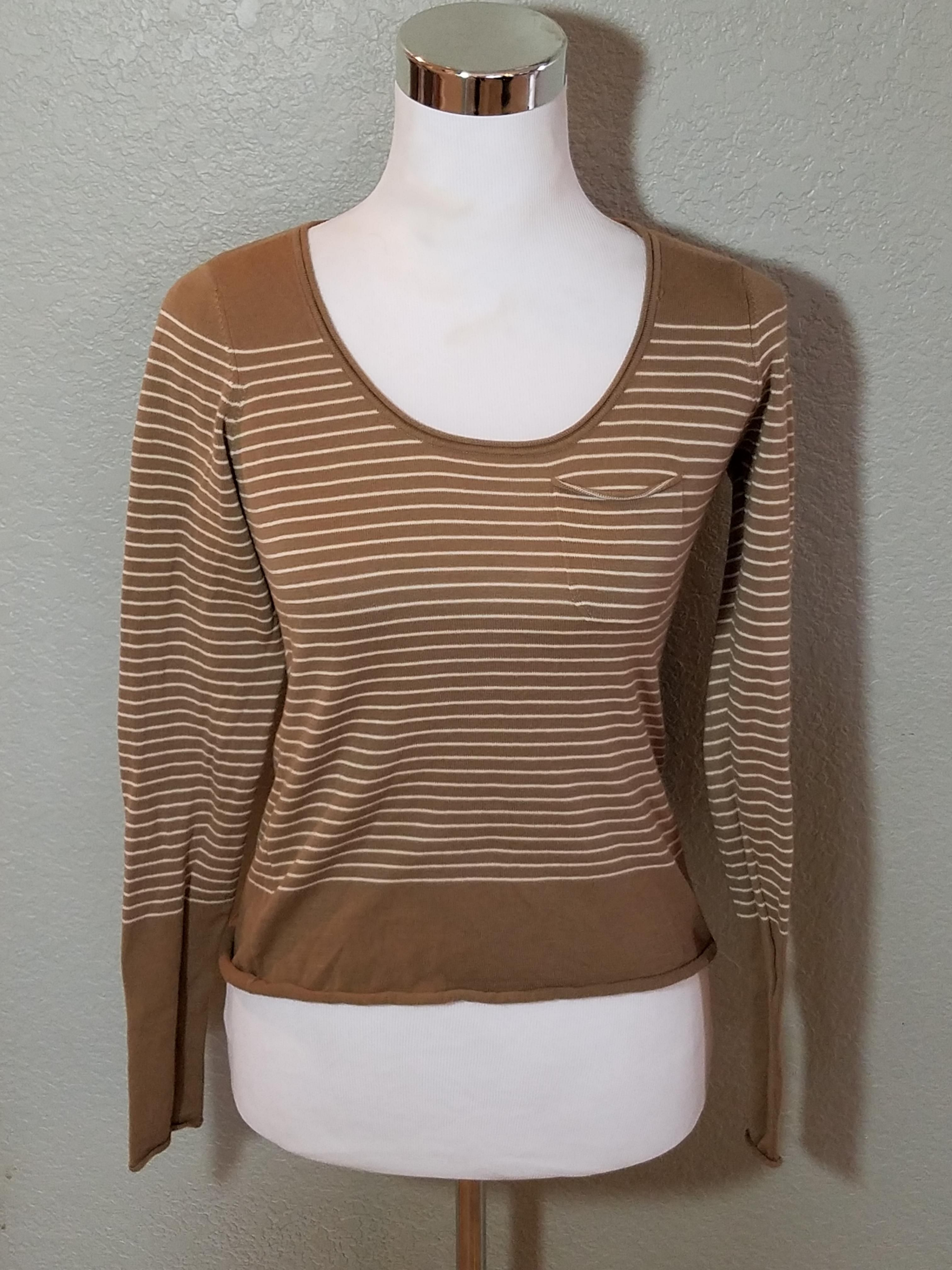 Long Sleeve White Striped M Sweater