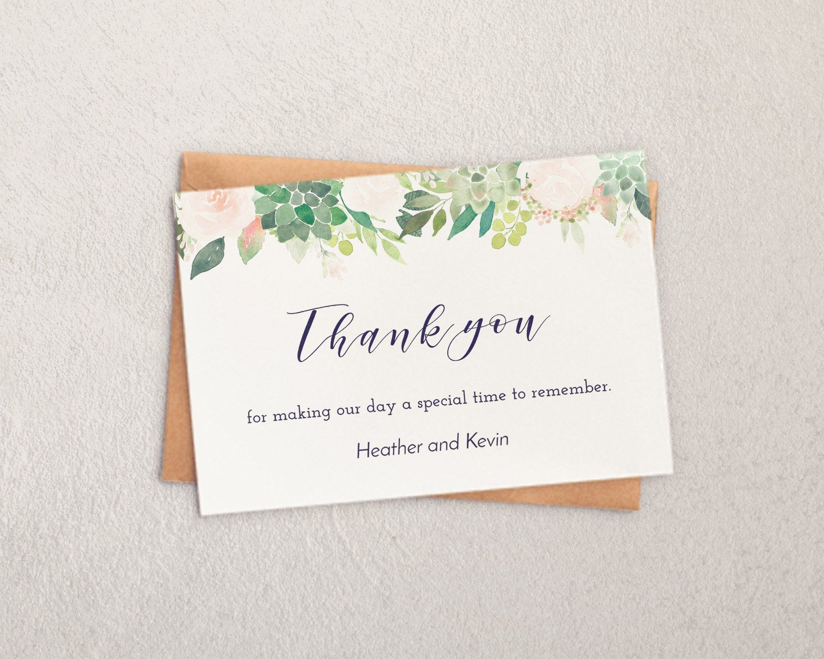Wedding Thank You Cards Template Greenery Wedding Shower Thank