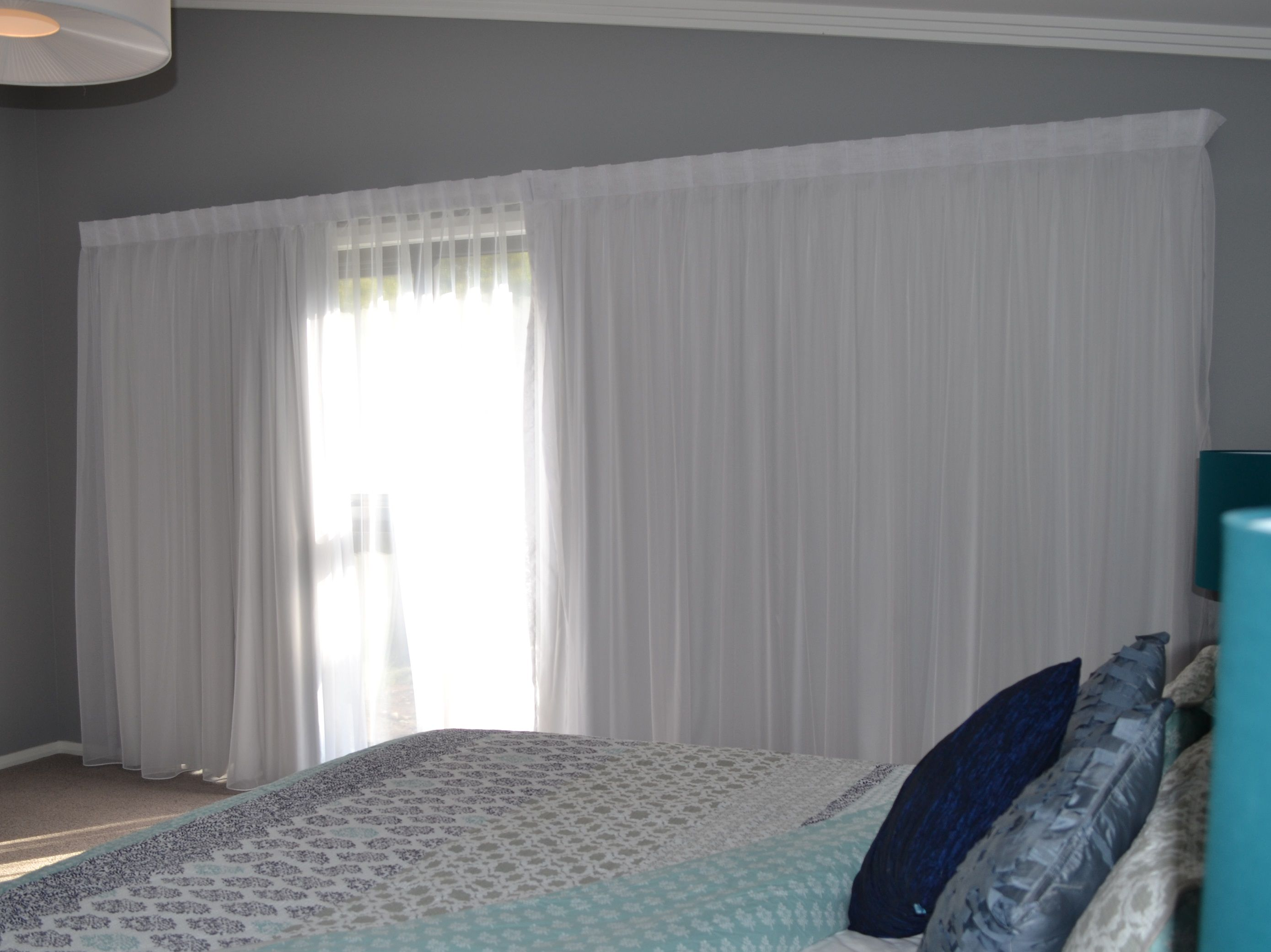 Lined Bedroom Curtains Double Track With A Sheer Curtain At The Front With A Lining At