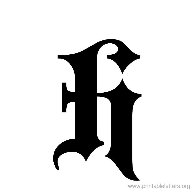 printable letter old english h