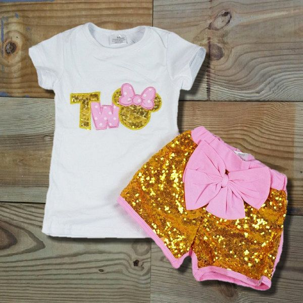 bdde11c06 Baby Girl Clothes Minnie Mouse Birthday TWO Year Old & ONE Year Old, Pink  Sequin, Short Set, Toddler Outfit, Girl Clothes, Girls Clothing by ...