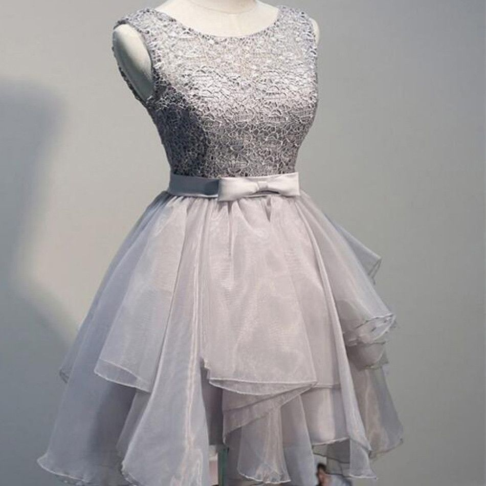 Grey organza unique freshman modest homecoming prom dressbd