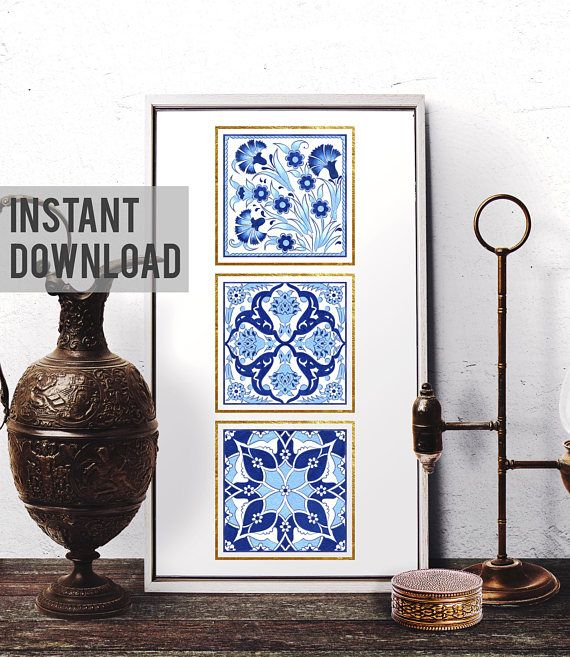 Printable Art, Ottoman Floral Motif Watercolor Art, Moroccan Wall Art,  Mosaic Home Decor