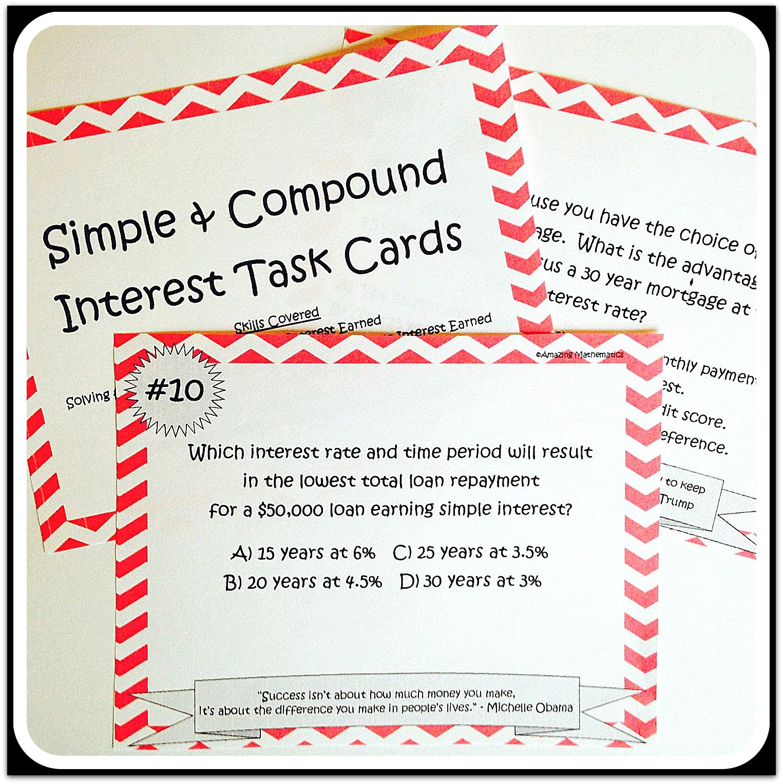 Simple \u0026 Compound Interest Task Cards   Financial literacy worksheets [ 1526 x 1525 Pixel ]