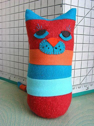 Stripe-y Patchwork Cat (front) by Green Kitchen, via Flickr