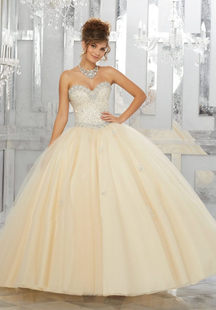 8f62274dc9 Allover Beaded Bodice on a Tulle Ball Gown Over Sparkle Tulle