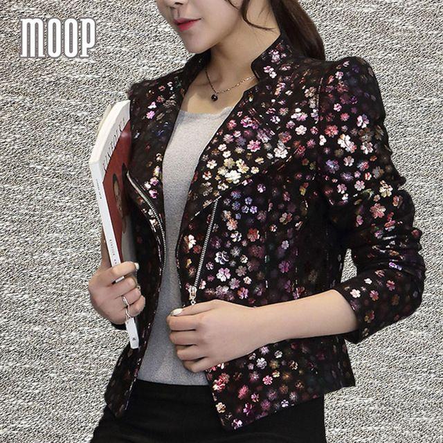 Floral embossed genuine leather jackets women 100%Lambskin motorcycle jacket veste en cuir femme jaqueta de couro croped LT276